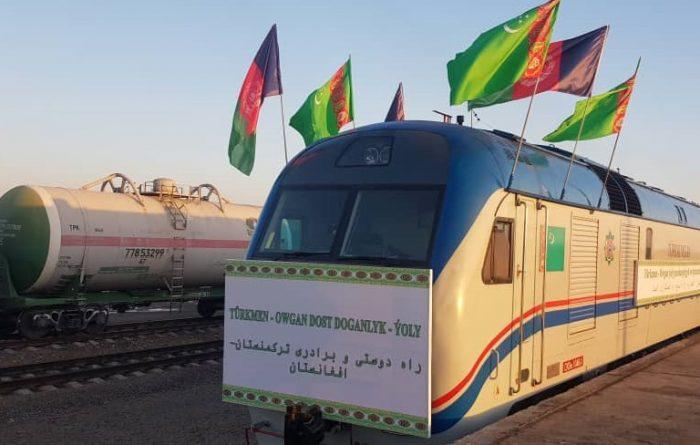 خط آهن آقینه-اندخوی با حضور روسای جمهور افغانستان و ترکمنستان افتتاح شد