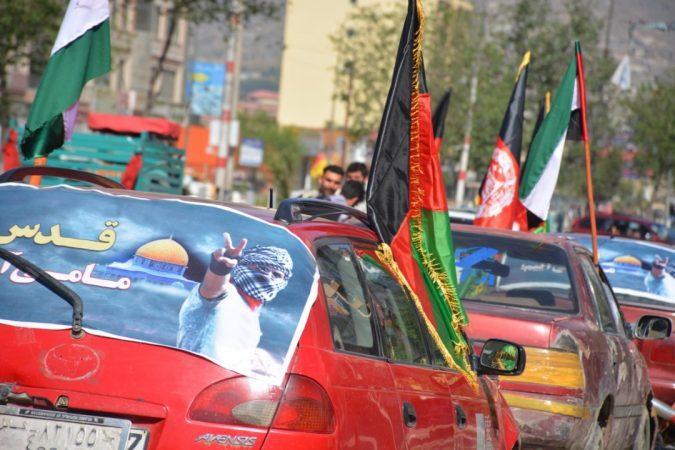 ایرنا: حرکت کاروان خودروها با حمل پرچمهای قدس در کابل